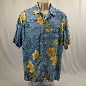 Tommy Bahama Men's Hawaiian Blue Floral 100% Silk